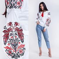 Современная женская вышиванка с огненными птицами на рукавах, белого цвета