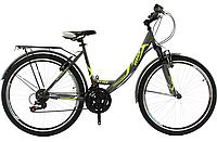 Городской женский велосипед Titan Elite 26 дюймов серо-зелёно-белый