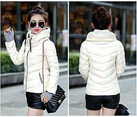 Женская куртка с манжетами воротник стойка осень-весна белая и розовая. Замеры в описании!