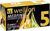 "Иглы ""Wellion MEDFINE plus"" (5мм) - 1 шт. (Австрия), фото 1"