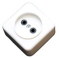 Розетка електрична ЕМР 10А колодка одинарна для електромонтажу (матеріал АВС)