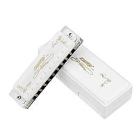 EASTTOP T008L 10 Отверстия Harmonica Tone C Белый цвет Блюз Джаз Народная музыка Музыкальный инструмент