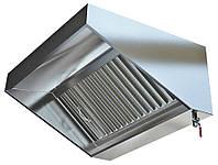 Зонт вентиляционный пристенный, островной из нержавеющей стали для кухни с жироулавливающим фильтром 1000*600