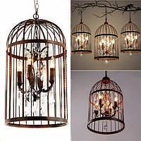 4 Head Black Bird Cage Хрустальная люстра Лампа Потолок Кулон Осветительные приборы AC85-240V