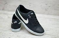 Мужские кожаные кеды Nike черные (Реплика ААА+), фото 1