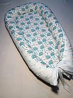 Гнездышко кокон babynest позиционер для новорожденного мятные ежики