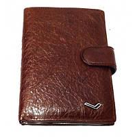 Бумажник мужской Water Lily 6821 D коричневый с паспортом и отделами для документов натуральная кожа 15 х 10см