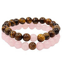 Браслеты для влюбленных из натурального камня розовый кварц и тигровый глаз