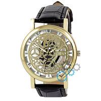 Оригинальные мужские часы скелетоны Sceleton Black-Gold-White