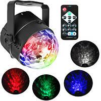 SOLMORE RGBW Дистанционное Управление LED Активированный звуковой сигнал сцены Волшебный Ball Waterwave Лампа AC100-240V
