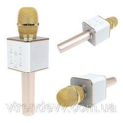 Микрофон-караоке bluetooth Q7 в чехле золотой