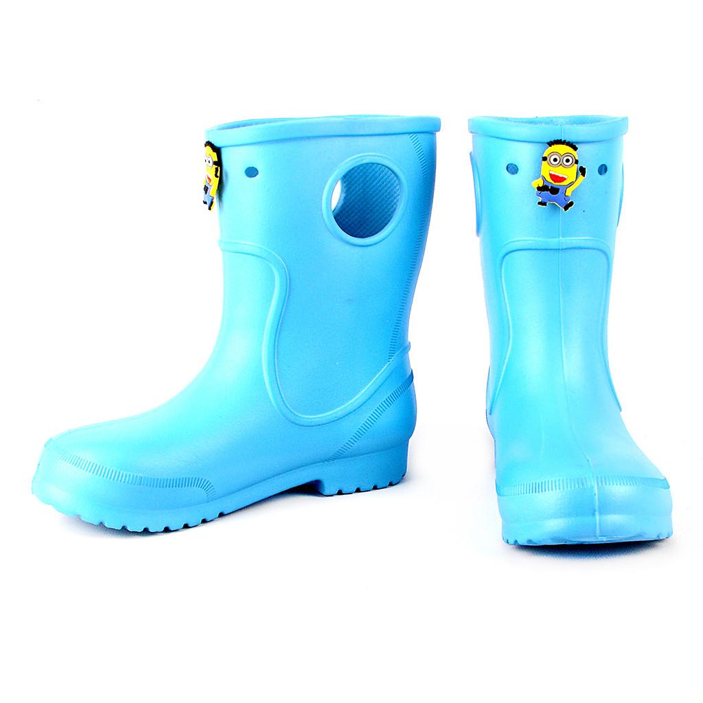 Голубые детские резиновые сапоги из пены, размер 32/33 стелька 20,5 см, девочке или мальчику