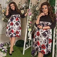 Красивое платье трапеция с принтом. Размеры: 48-50, 52-54, 56-58