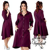 Женское свободное платье-рубашка с карманами. Ткань: костюмка-диагональ. Размер: 48,50,52,54.