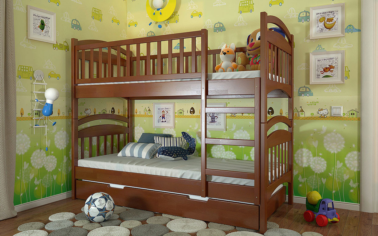✅Двухъярусная деревянная кровать Смайл 80х190 см ТМ Arbor Drev