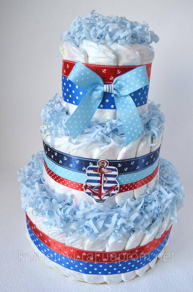 Торт з памперсів для хлопчика море