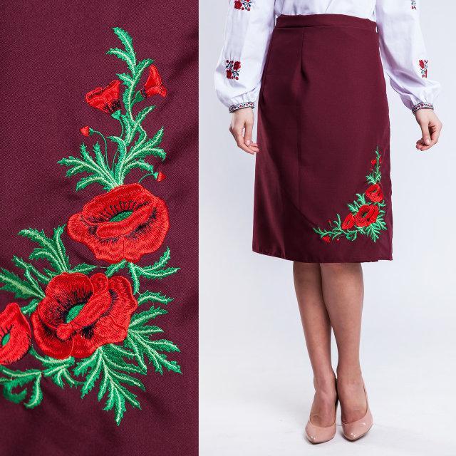 84e38e1af45 Женская юбка плахта с красными маками Соломия бордового цвета 65 см ...