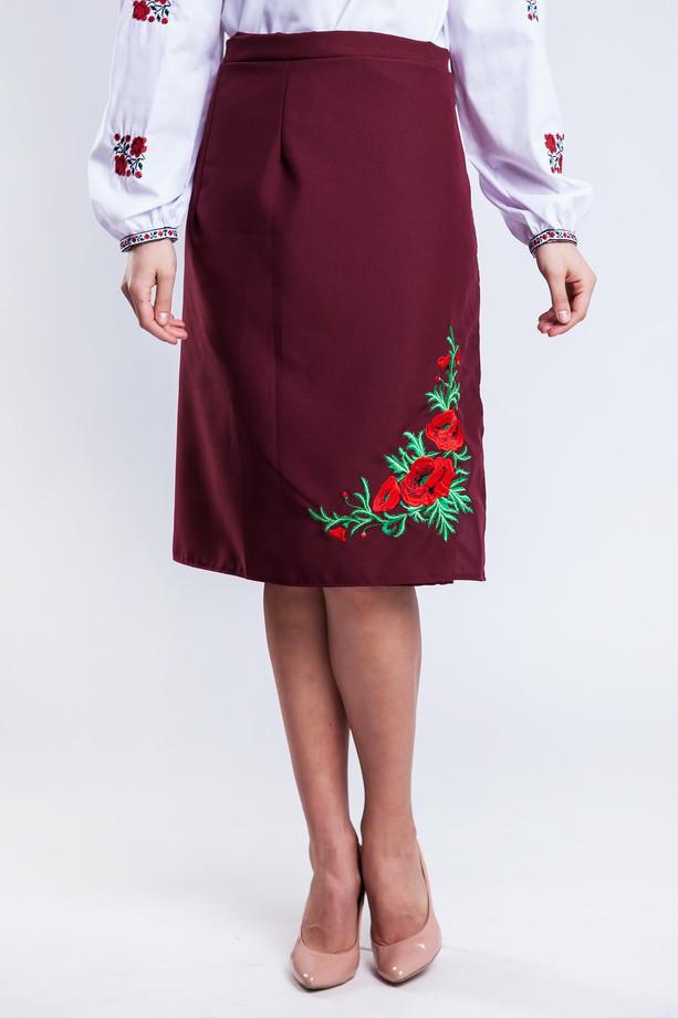 48e0634f27f Женская юбка плахта с красными маками Соломия бордового цвета 65 см ...