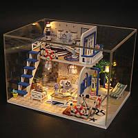 Hoomeda M032 Blue Seasidet DIY Дом с мебелью Музыкальная обложка Миниатюрная декоративная игрушка