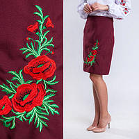 Женская юбка плахта с красными маками Соломия бордового цвета 55 см