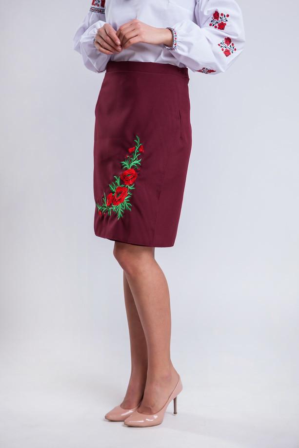 21a5d1b00fb Женская юбка плахта с красными маками Соломия бордового цвета 55 см ...