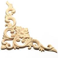 Деревянная аппликация Дуб Резьба Угловая мебель Рамка Onlay Unpainted Decor 20x15cm 1TopShop