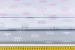 Ткань ранфорс шириной 220 см с серыми коронами на белом фоне (№1216), фото 2