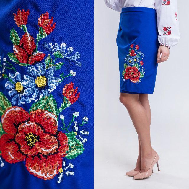 Женская юбка плахта Мальва цвета электрик 55 см