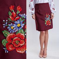 Женская юбка плахта Мальва бордового цвета 55 см, фото 1