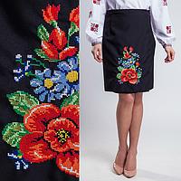 Женская юбка плахта Мальва чёрного цвета 55 см, фото 1