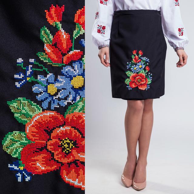 Женская юбка плахта Мальва чёрного цвета 55 см