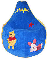 Бескаркасное Кресло мешок груша пуф для детей ВИННИ ПУХ + ПОДАРОК