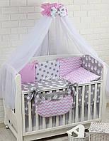"""Постель в кроватку """"Совы на сером с розовым зигзагом и серыми звёздами"""" №213"""