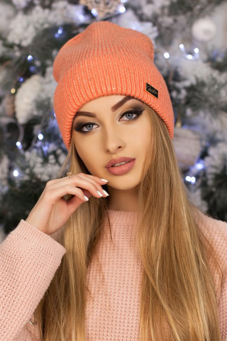 Женская шапка-колпак «Адриана» Персиковый
