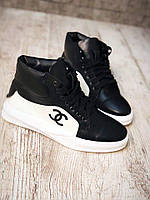 Стильные женские высокие кроссовки Chanel натуральная кожа черные с белым