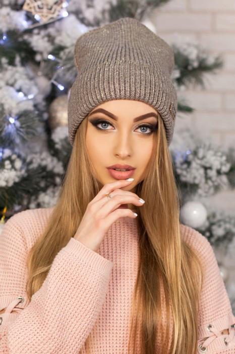 Женская шапка-колпак «Адриана» Темный кофе