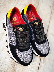 Крутые яркие женские черные кроссовки копия бренда BalenCi@g@