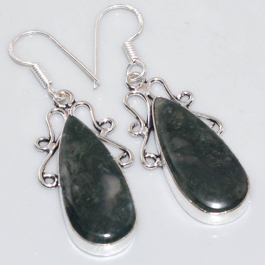 Красивые серьги с моховым агатом. Серьги с камнем моховый агат в серебре.