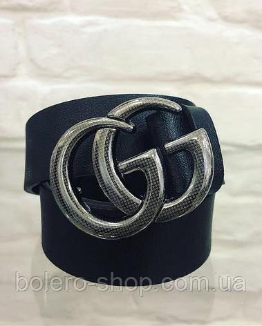 Кожаный женский пояс ремень черный Gucci, фото 2