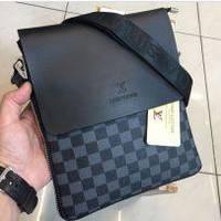 Мужская сумка Louis Vuitton, черная с серым Луи Виттон