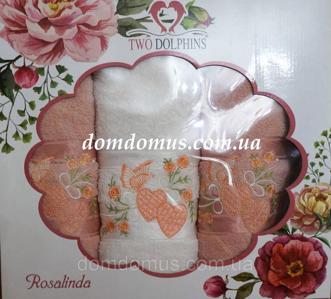 """Подарочный набор полотенец """"Rosalinda"""" (баня 1 шт., лицо 2 шт.) TWO DOLPHINS, Турция 0129"""