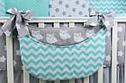 Комплект постельного белья Asik Совы на сером с горошком и зигзагом мятного цвета 8 предметов (8-214), фото 6