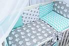 Комплект постельного белья Asik Совы на сером с горошком и зигзагом мятного цвета 8 предметов (8-214), фото 2
