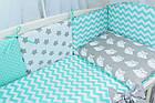 Комплект постельного белья Asik Совы на сером с горошком и зигзагом мятного цвета 8 предметов (8-214), фото 5