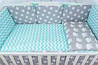 Комплект постельного белья Asik Совы на сером с горошком и зигзагом мятного цвета 8 предметов (8-214), фото 7