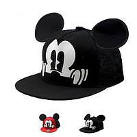 Детская кепка снепбек  с ушками Микки Маус с прямым козырьком, Унисекс, фото 1