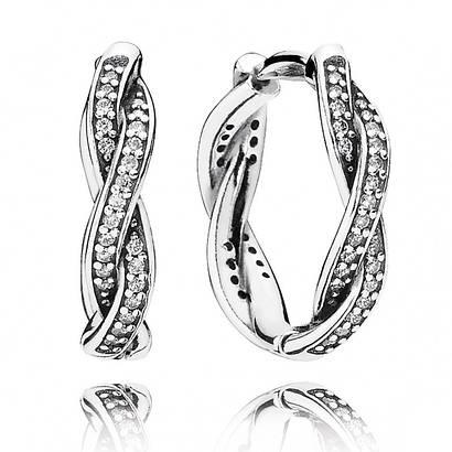 Серебряные cерьги «Сверкающая любовь» в стиле Pandora