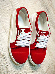Стильные женские красные кеды натур замш Ch@nel