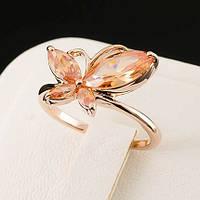 Прелестное кольцо с кристаллами Swarovski, покрытое слоями золота 0502