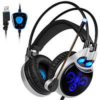 Sades R8 Игровая гарнитура USB Virtual 7.1 Light Surround Sound PC Gamer Headphone с разрешением Микрофон